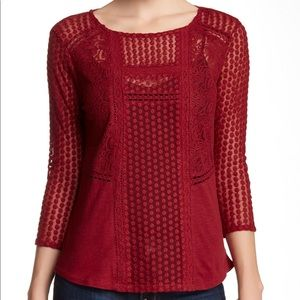 Lucky Brand Red Mixed Lace Peasant Top